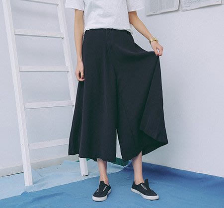 SeyeS  個性時尚基本款簡約黑色褲裙