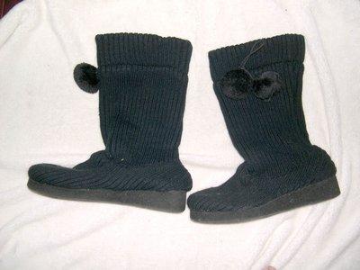 @╮全面淨空大特賣╭@五十一元亂亂標~~優雅黑色時尚中筒靴