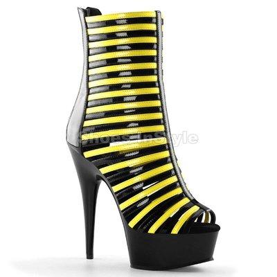Shoes InStyle《六吋》美國品牌 PLEASER 原廠正品霓虹螢光厚底高跟涼鞋 短靴 特價 出清『黑黃色』