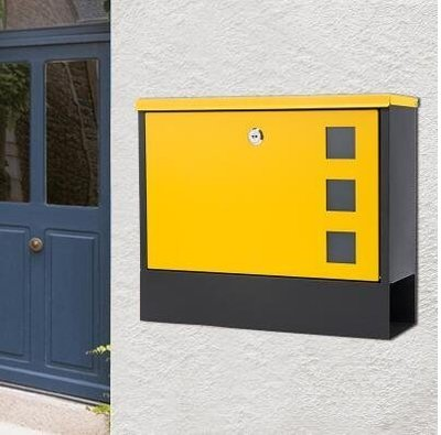 『格倫雅品』別墅信報箱室外掛牆戶外帶鎖鐵藝防銹防雨-黃色門+黑底