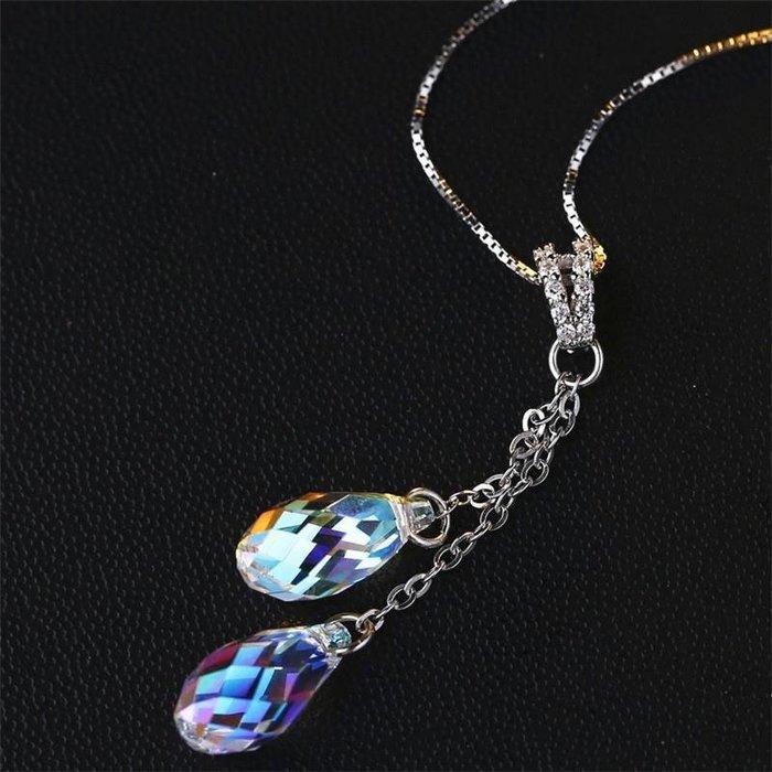 S925純銀項鏈水晶雙顆水滴吊墜鎖骨鏈韓國簡約時尚 新麗小舖