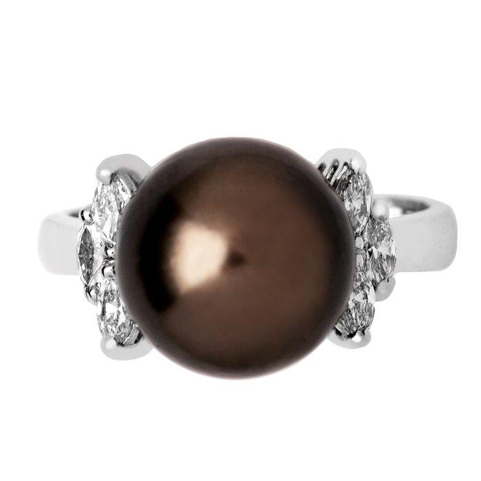 【JHT 金宏總珠寶/GIA鑽石專賣】11.3mm天然黑珍珠鑽戒/材質:14K(KBP-5945)