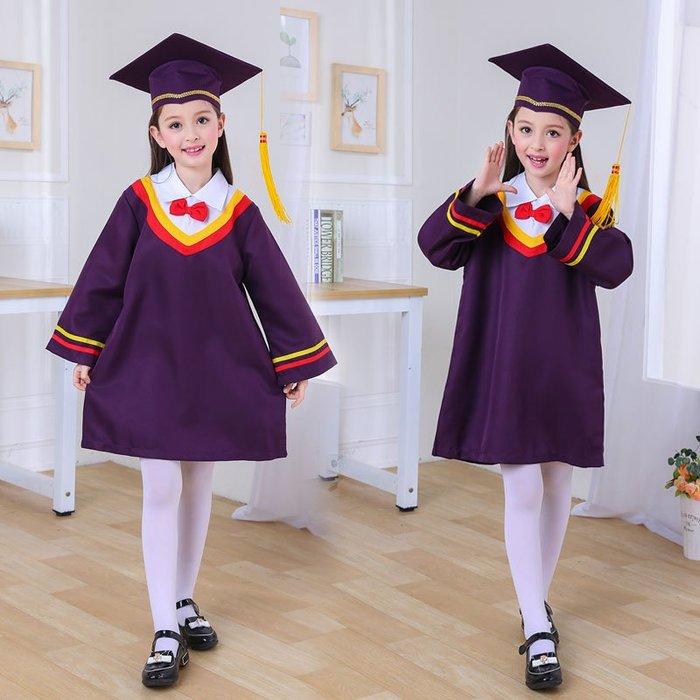 新款幼兒園畢業服兒童博士服學士服小學生畢業照禮服演出服裝 【粉紅記憶】