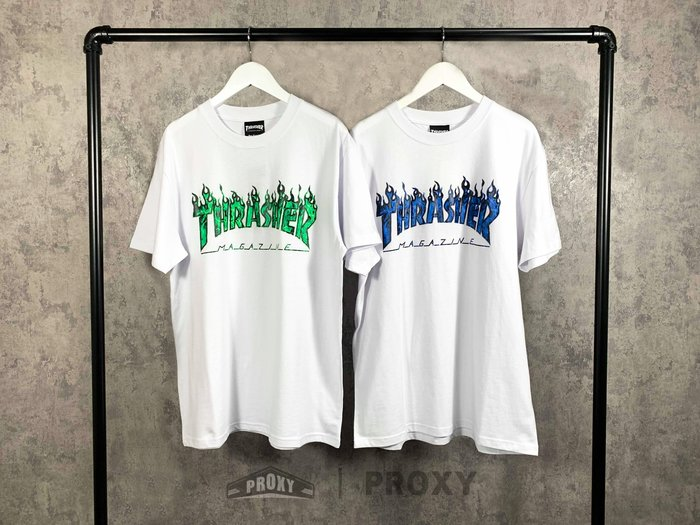 【PROXY】THRASHER Real Ghost Flame Tee 白綠 白藍 鬼火短T 真實火焰 GD 短袖