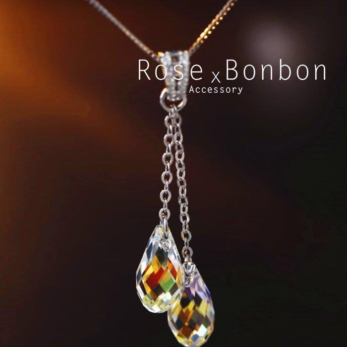 奧地利水晶 S925純銀項鍊 雙顆水滴吊墜鎖骨鏈 Y字鍊 短項鍊 情人送禮Rose Bonbon G4N02