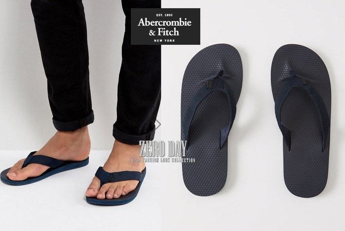 A&F真品Abercrombie&Fitch MIXED MEDIA RUBBER FLIP FLOPS人字夾腳拖鞋深藍