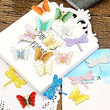 『ღIAsa 愛莎ღ手作雜貨』金線蝴蝶包邊刺繡小號多色布貼衣服補丁貼DIY補洞裝飾貼花燙背膠