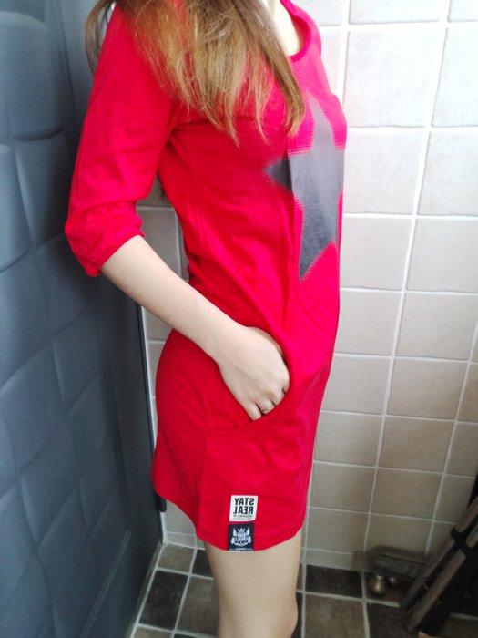 (嘻哈姐弟) STAYREAL 五月天潮牌  7分袖連身裙  晶晶  S號  二側口袋  9.5成新  100%正品