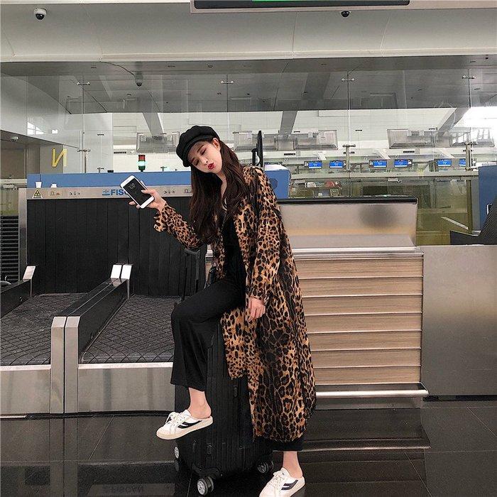 小魔女 獨家新款 性感 時尚 名媛 氣質 優雅 東大門 狂野豹紋 個性 豹紋長大衣  外套 罩衫 豹紋襯衫