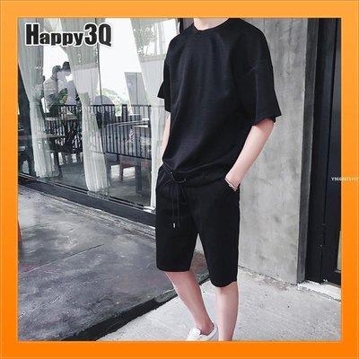 ☆☆☆短袖運動套裝日韓素色T短袖T抽繩短褲大尺碼XL上衣-黑粉M-XL