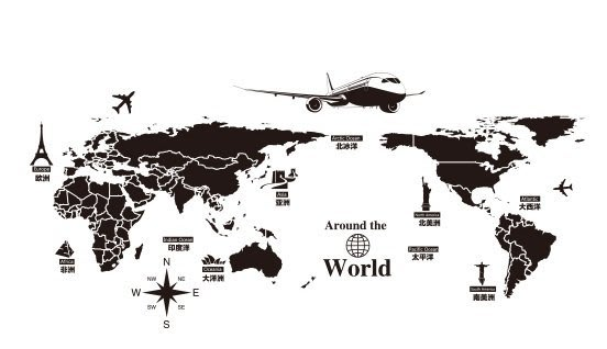 【P】創意世界地圖牆貼紙   電視沙發背景牆紙貼畫