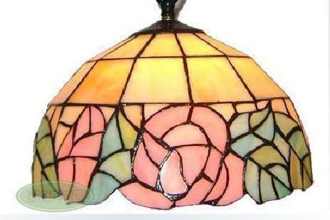 凱西美屋 浪漫鄉村玫瑰 特價12寸手工製作帝凡尼彩繪玻璃藝術吊燈 田園風