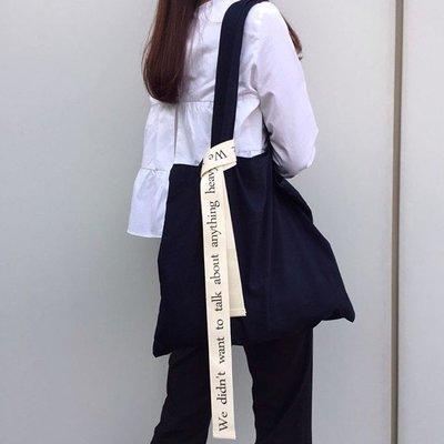 女生 包包 正韓版ins韓風unfold新款織帶字母印花單肩帆布包購物袋純色女包拉鏈包7-29