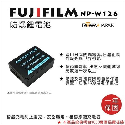 趴兔@樂華 FOR Fuji NP-W126 相機電池 鋰電池 防爆 原廠充電器可充 保固一年