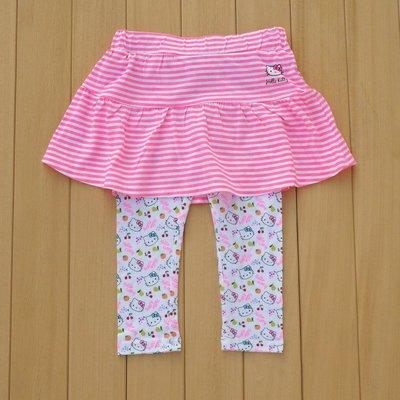 媽咪樂*歐單粉紅條紋滿印裙褲 長褲裙92.98.104.110.116.128cm