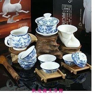 【凱迪豬生活館】中逸 滿彩青花蘭藤 骨瓷茶具 高檔青花茶具套裝 整套 茶具 功夫KTZ-200996
