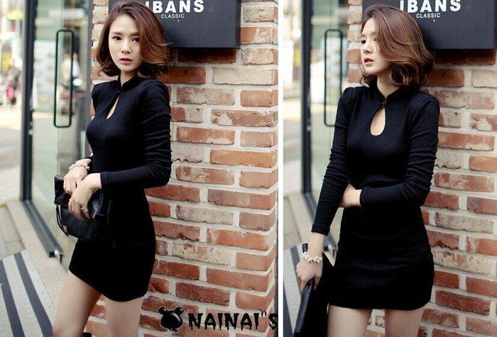 【NAINAIS】5777 韓版 夜店跑趴 露胸鏤空扣式立領坑條包臀洋裝 S-XL預