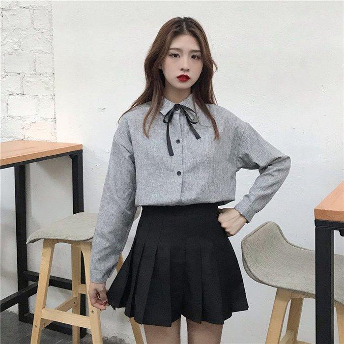 新款女裝韓版純色百搭上衣蝴蝶結繫帶襯衫學生長袖襯衣