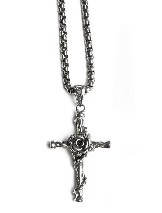 【NoComment】美式時尚 質感簡約 鈦鋼玫瑰花十字架項鍊 金銀帝國 zara