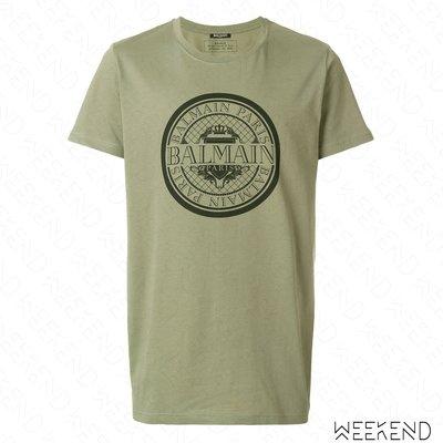 【WEEKEND】 BALMAIN Logo 印圖 短袖 T恤 上衣 綠色 18春夏新款