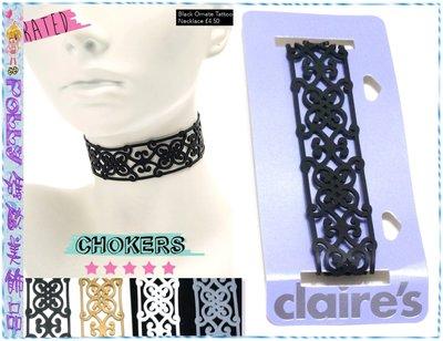 ☆POLLY媽☆歐美claire's Ornate Tattoo Choker Necklace鏤空圖騰矽膠頸鍊~4色