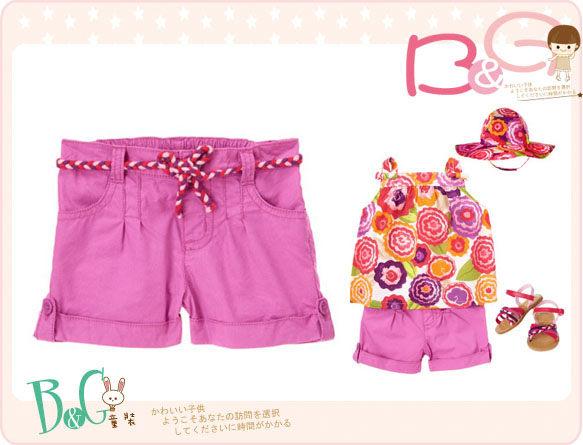 【B& G童裝】正品美國進口Crazy8 Braided Belt Short 棉繩裝飾紫丁香色短褲2,3yrs