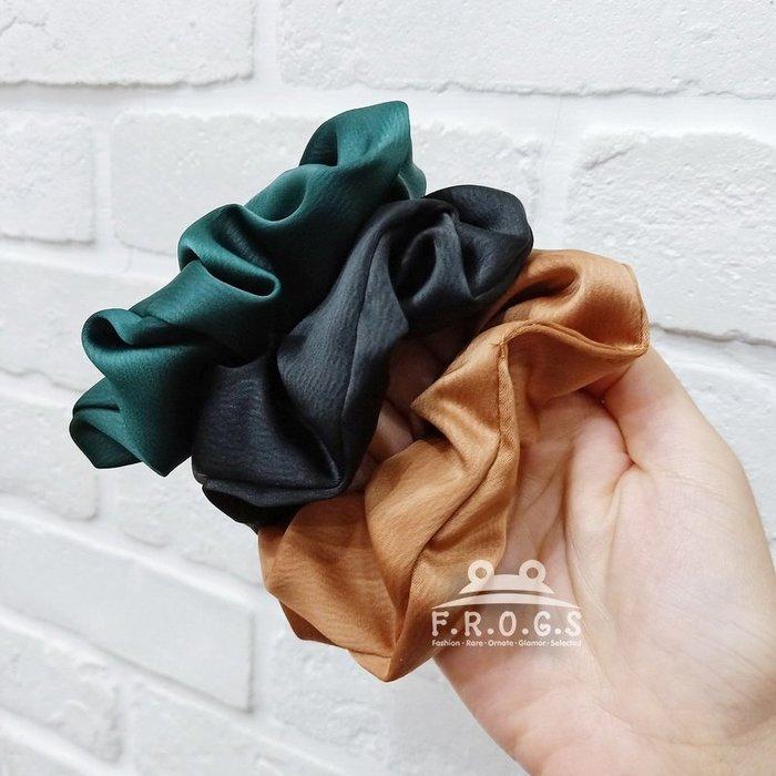 F.R.O.G.S F0534韓國東大門INS款綢緞素色馬尾造型大腸圈髮繩髮圈布圈髮束髮飾頭飾皮筋(現+預)