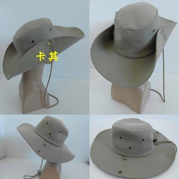 //阿寄帽舖// 台灣製 挺款 卡其 布質 男女可載 牛仔帽/ 西部帽/ 狩獵帽/-全部紙箱包裝!