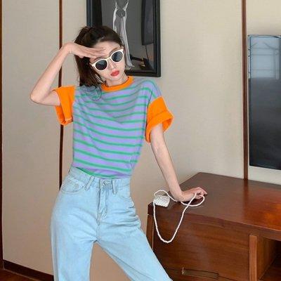 小香風 短袖T恤 時尚穿搭 上衣女 韓版 時尚氣質減齡拼色條紋短袖休閑寬松T恤潮