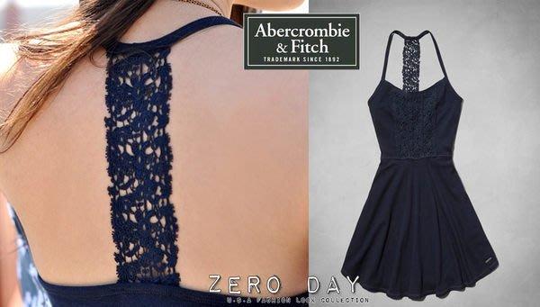 A&F真品Abercrombie&Fitch Bailey Knit Skater Dress美背雕花蕾絲洋裝藍尾牙春酒