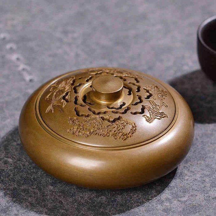 新款銅香爐 創意四君子居室熏香爐家用擺件檀香爐 盤香爐