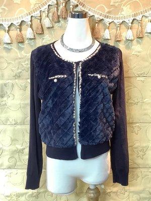 【性感貝貝】深藍色毛絨金鏈罩衫小外套, Nice ioi Gozo Loranzo U'db VK 東京著衣風