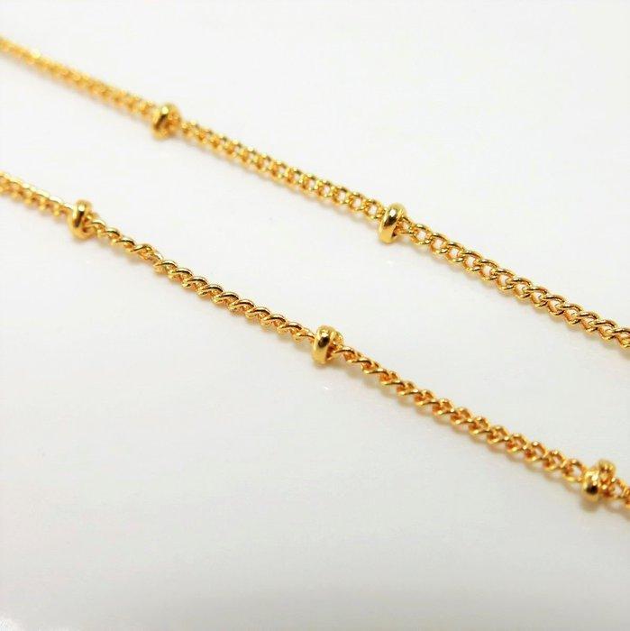 老樹工房*18k包金保色項鍊18英寸夹珠鏈寬約1.2mm***diy項鍊飾品46CM