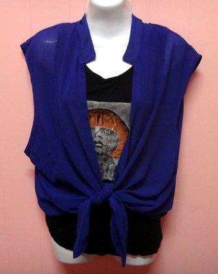 藍色 假兩件式雪紡絲紗上衣