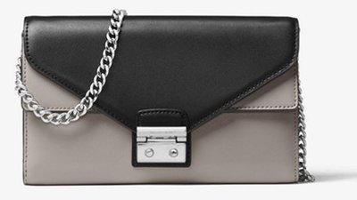 【專櫃款現貨】MICHAEL KORS 100%真品 MK斜背 手拿包 晚宴包 珍珠灰色/黑色 真皮革