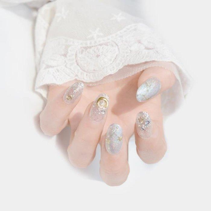 新娘假指甲貼片成品結婚光療日系手工日常美甲銀色星月亮穿戴