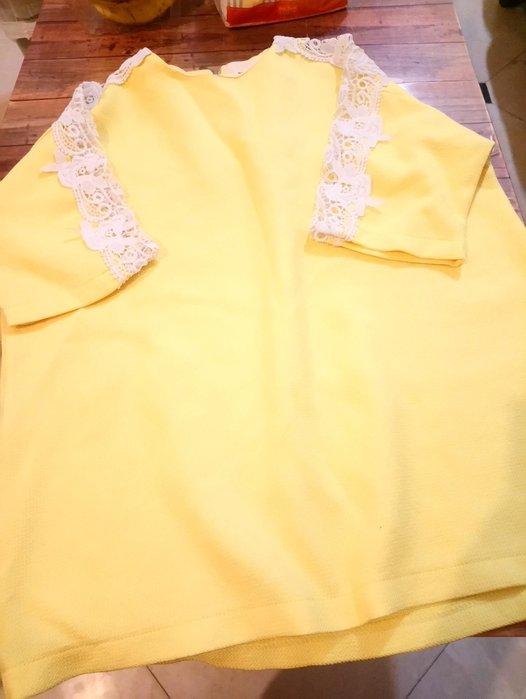 亮黃色蕾絲 上衣 胸圍平量53公分 衣長68公分 沒彈性