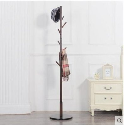 【優上】實木衣帽架 落地掛衣架臥室衣服架子歐式衣掛簡易立式帽子架「咖啡色」