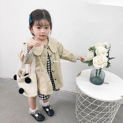 `惗.Study溡光 女童中長款風衣2020潮新款春秋兒童寶寶洋氣正韓童裝寬松娃娃領外套服