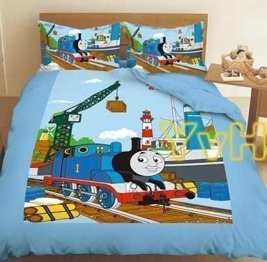 ==YvH==正版卡通 Thomas Train 湯瑪士小火車 雙人床包枕套組 正版授權台灣製造 (現貨)