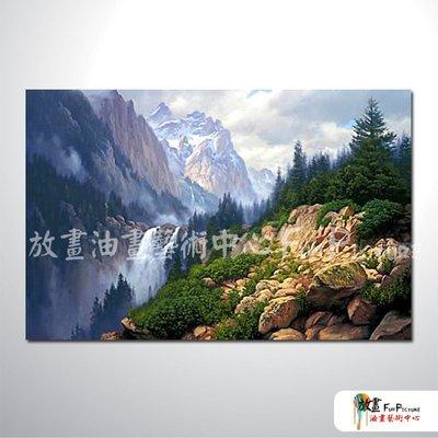 【放畫藝術】古典風景38 純手繪 油畫 橫幅 藍綠 冷色系 山水 精選 客廳 裝飾 招財 風水 民宿 辦公室