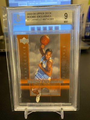 Carmelo Anthony 2003-04 Upper Deck Rookie Exclusives#3 BGS 9