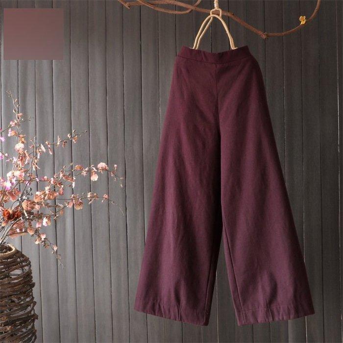 (老銀屋)冬裝彈性優質棉麻加絨加厚平腰顯瘦直筒褲/休閒褲