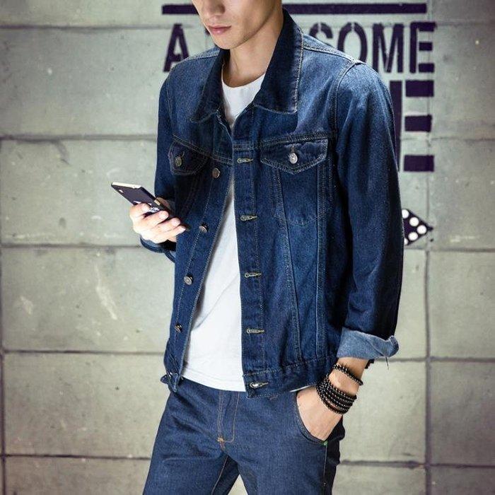 青年休閒男士牛仔外套夾克潮上衣韓版修身百搭翻領