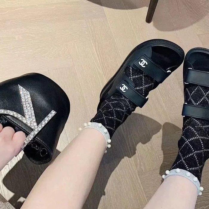🙋現貨✨小香風 珍珠襪 女生短襪 蕾絲襪 菱格拼接網襪 網紅 網美襪 短襪 珠珠 短襪 日系襪子 韓國襪子 造型襪