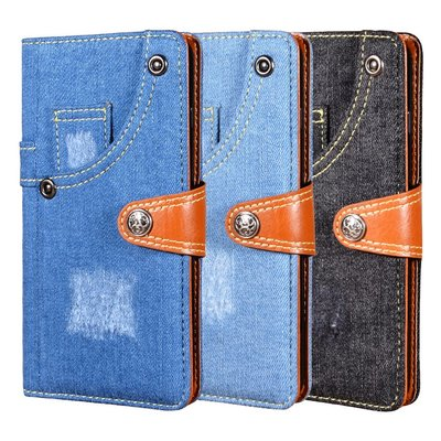 LG K42 皮革保護套牛仔布口袋設計款磁扣翻蓋保護套