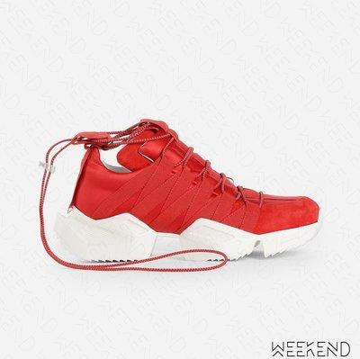 【WEEKEND】 UNRAVEL 抽繩 部分麂皮 休閒 運動 球鞋 紅色 19春夏