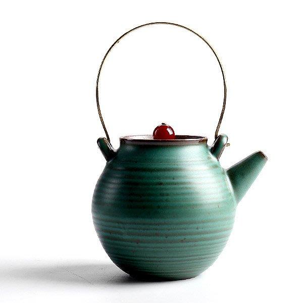 5Cgo【茗道】含稅會員有優惠  538681600260 小號茶壺普洱壺陶瓷功夫茶具單壺日式創意提梁壺泡茶器