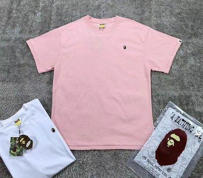正品日本bathing ape 新款20SS春夏天系列鮮彩色小猿人頭刺繡圖案黑白粉藍色男女短袖T恤tee
