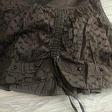 華敦名品 i blue 深棕色純棉鏤空蕾絲抽繩及膝裙